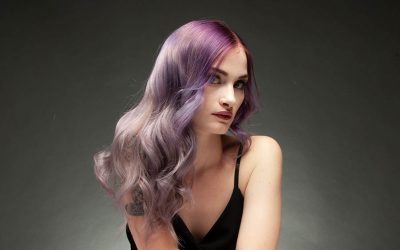 Balayage Coloration in Pastell-Violett